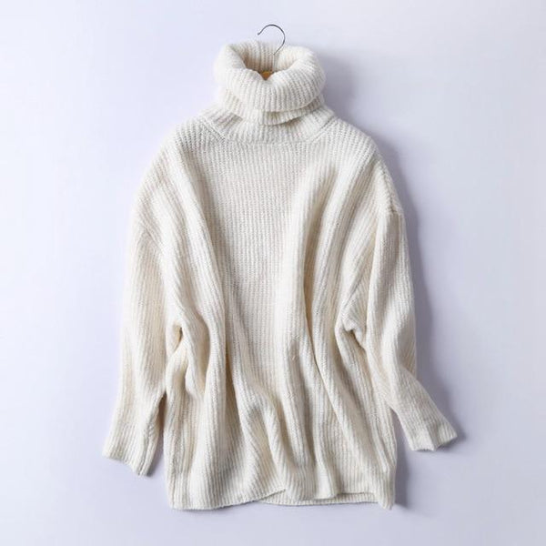 Women Ribbed Knitted Turtleneck Sweater-Eurecah