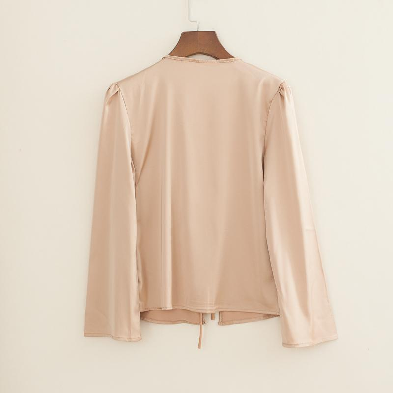 Women Self Tie Front Satin Blouse Satin Shirt-Eurecah