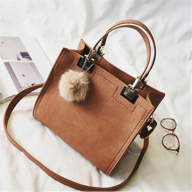 Women Suede Tote Bag with Fur Ball-Eurecah
