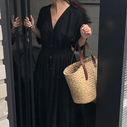 Women V Neck Cotton Long Shirt Dress with Belt-Eurecah
