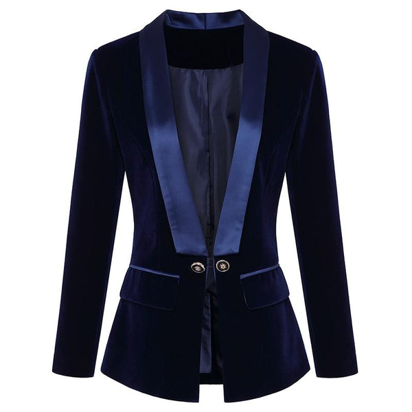 Women Velvet Fitted Double Breasted Blazer Metal Buttons-Eurecah