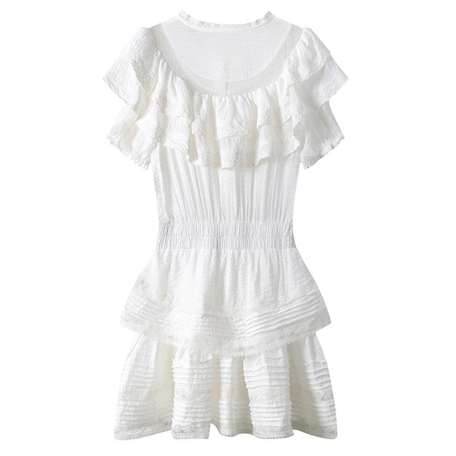 Women White Embroidered Mini Dress Puffer Sleeves-Eurecah