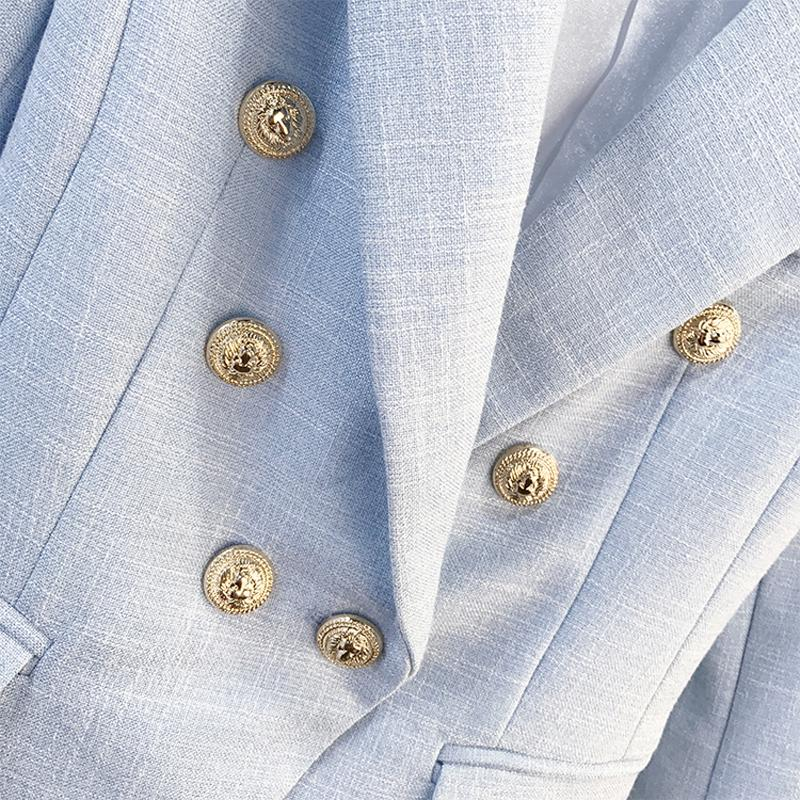 Women's Long Sleeve Double Breasted Metal Lion Buttons Blazer Jacket-Eurecah