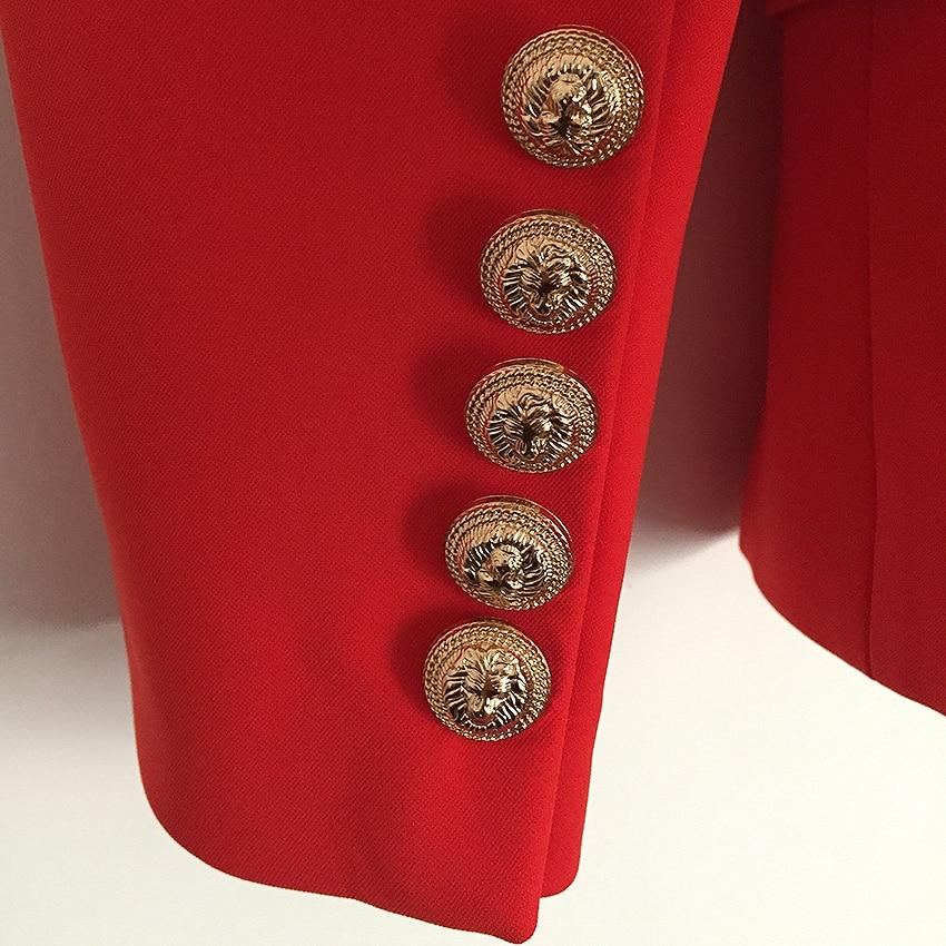 Women's Metal Lion Buttons Double Breasted Blazer Jacket-Eurecah