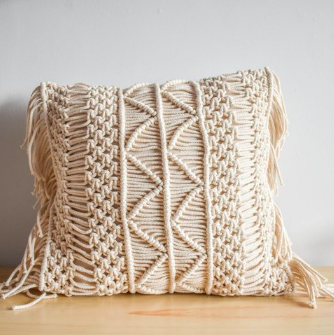 'Zig Zag' Macrame Cushion-Eurecah