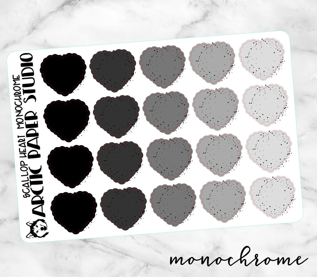 Scallop Heart Colourway - Monochrome NO ICONS
