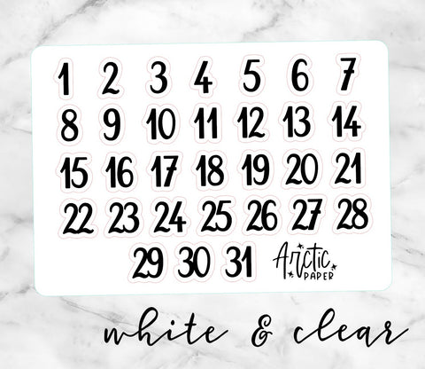 *CLEAR* or WHITE Date Dots (C) Kiss Cut