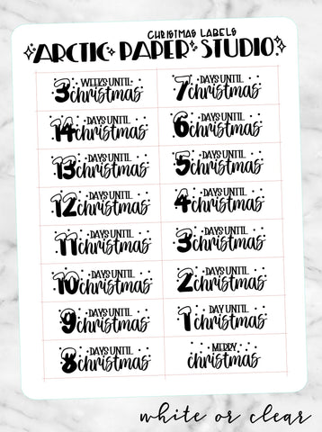 *CLEAR* & WHITE - Christmas Labels