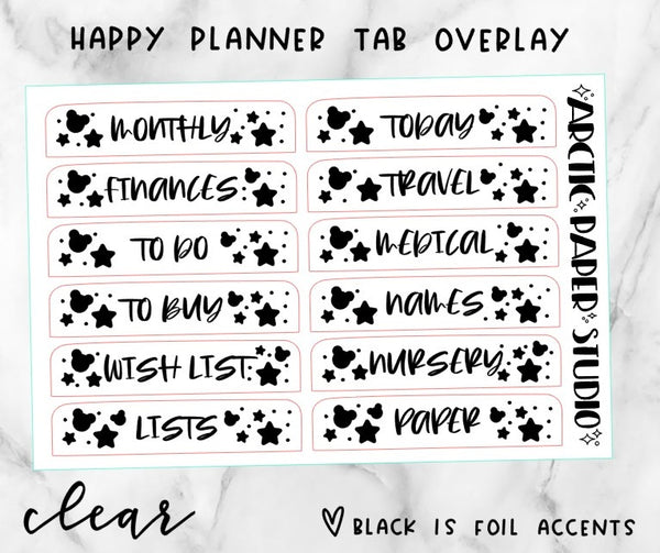 *CLEAR* Happy Planner Tab Overlay  002 CUSTOM