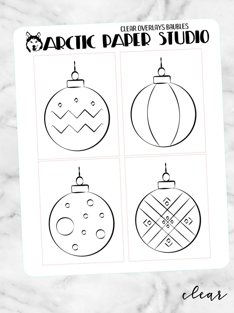 *CLEAR* Overlay Christmas Baubles