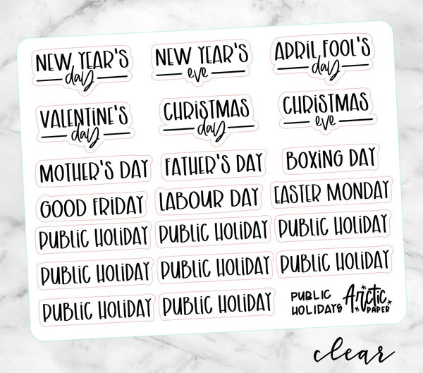 *CLEAR* Public Holidays 005 - SMALLER SIZING SCRIPTS