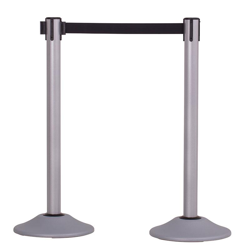 2-Pack Premium Steel Stanchions Barriers with Retractable Belt - Silver - The Crowd Controller