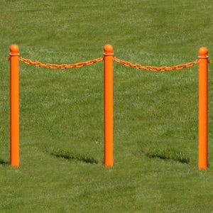 "Crowd Control Barrier Stanchions 2.5"" Diameter Plastic Ground Pole, 35"" Overall Height- TheCrowdController.com"