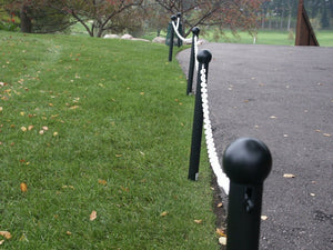 "Crowd Control Barrier Stanchions 3"" Diameter Plastic Ground Pole, 35"" Overall Height - TheCrowdController.com"