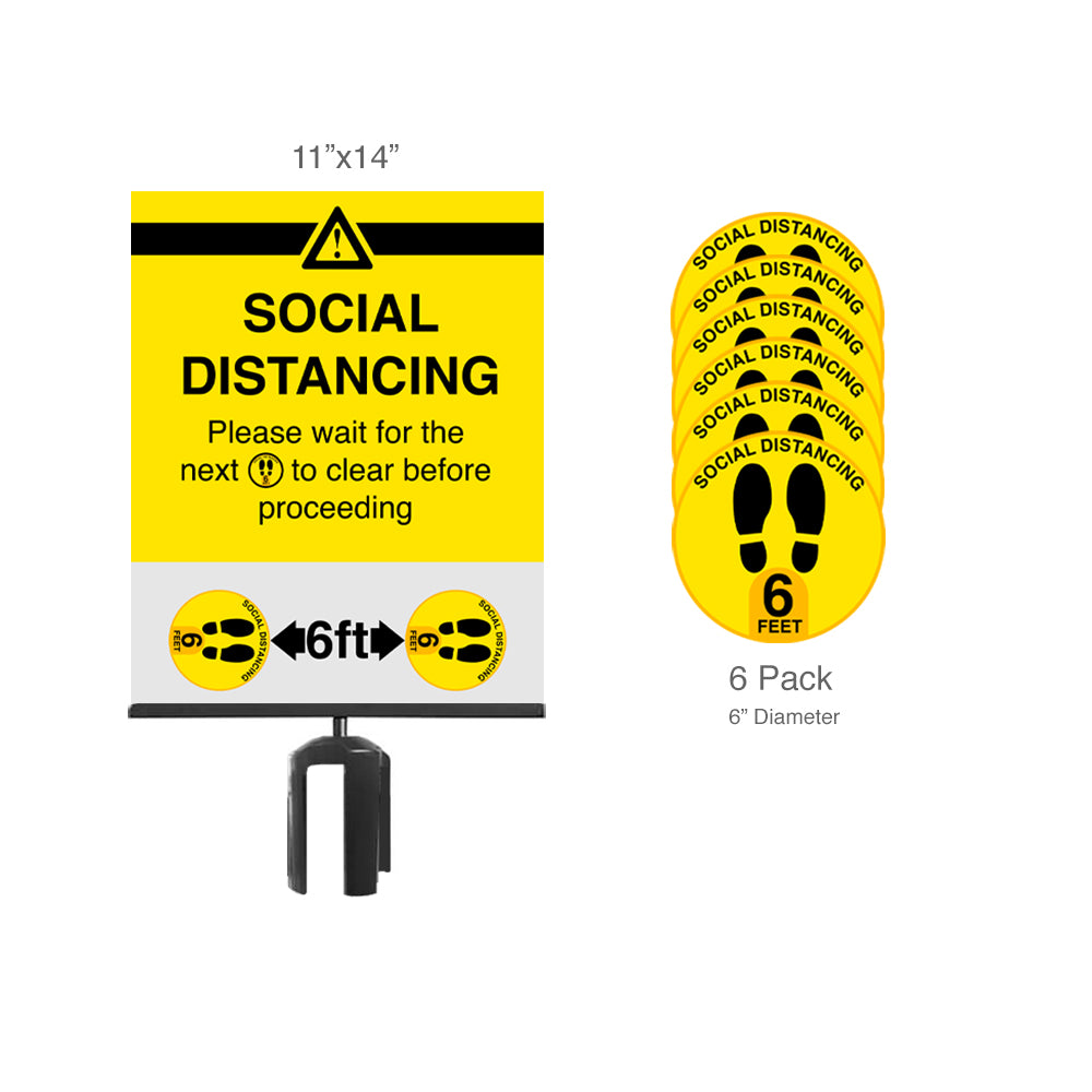 Social Distancing Floor Decals 6-Pack and Sign Bundle