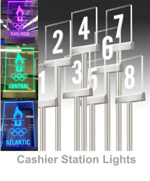 Cashier Station Lights | Clear Panel Laser Etched - The Crowd Controller
