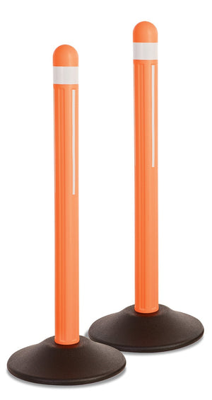 Orange Delineator w/ reflective tape / Filled Base / 2-Pack - The Crowd Controller