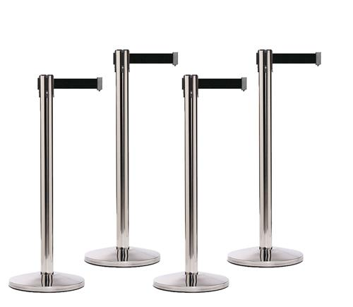 SET OF 4 Polished Stainless RETRACTABLE BELT BARRIERS-Queue Master - The Crowd Controller
