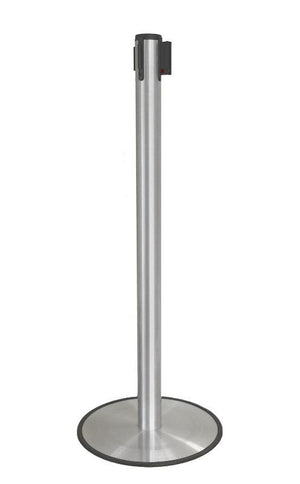 Stanchions Barriers Ultra-Thin Base | Single Belt | Satin Aluminum - The Crowd Controller
