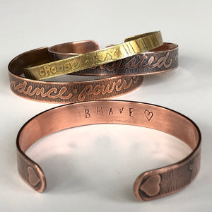 Custom Etched Copper Cuff Bracelet