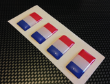 Lot de 4 drapeaux Français 3D Doming - Lettrage Velo