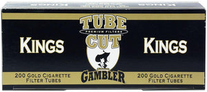 GAMBLER TUBE CUT CIGARETTE FILTER TUBES 5 CARTONS OF 200 GOLD (LIGHT) KING SIZE - Green Caviar Club