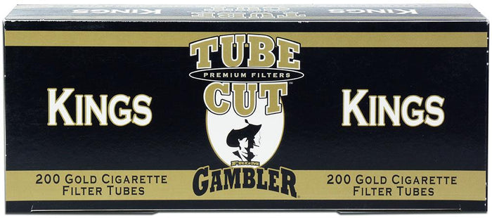 GAMBLER TUBE CUT CIGARETTE FILTER TUBES 5 CARTONS OF 200 GOLD (LIGHT) KING SIZE