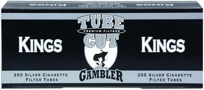 GAMBLER TUBE CUT CIGARETTE FILTER TUBES 5 CARTONS OF 200 SILVER (ULTRA LIGHT) KING SIZE