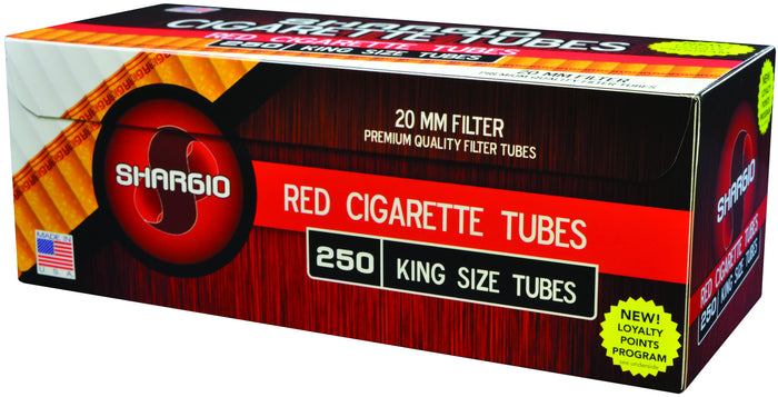 SHARGIO CIGARETTE FILTER TUBES 1000 TUBES RED (FULL FLAVOR) KING SIZE