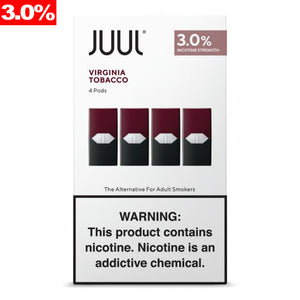 JUUL PODS 3% NICOTINE PACK OF 4 - VIRGINIA TOBACCO