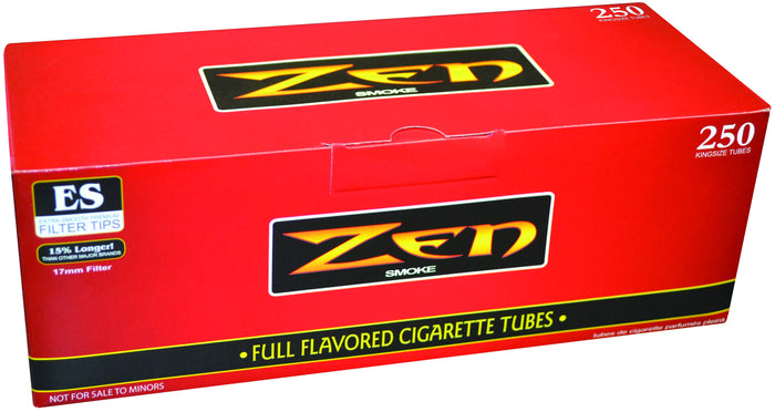 ZEN CIGARETTE FILTER TUBES 1 CARTON OF 250 TUBES RED (FULL FLAVOR) KING SIZE