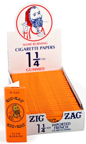 ZIG ZAG ROLLING PAPERS 1 1/4 GUMMED ORANGE 24 BOOKS OF 32 LEAVES
