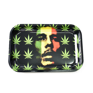 Bob Marley #1 Metal Rolling Tray - Green Caviar Club