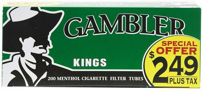 GAMBLER CIGARETTE FILTER TUBES PRE-PRICED 5 CARTONS OF 200 MENTHOL KING SIZE