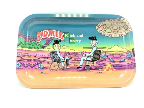 Rick & Morty Breaking Bad x Backwoods Metal Rolling Tray - Green Caviar Club