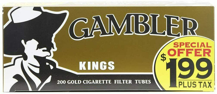 GAMBLER CIGARETTE FILTER TUBES PRE-PRICED 5 CARTONS OF 200 GOLD (LIGHT) KING SIZE