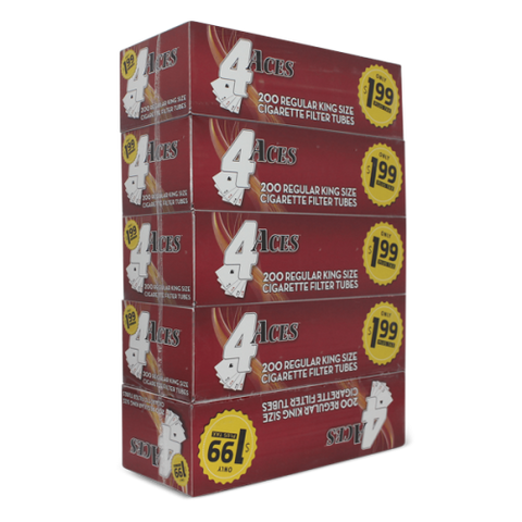 4 ACES CIGARETTE FILTER TUBES 5 CARTONS OF 200 RED FULL FLAVOR KING SIZE - Green Caviar Club