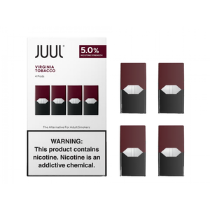 JUUL PODS 5% NICOTINE PACK OF 4 - VIRGINIA TOBACCO