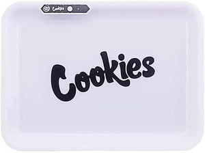 COOKIES MULTI COLOR LED GLOW ROLLING TRAY - WHITE