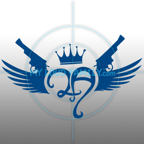 2nd Amendment 2A Rounded Heart Crown Wings Revolvers Decal Sticker