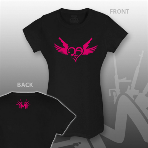 2nd Amendment Heart Guns Wings BLACK T-Shirt Hot Pink Design