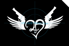 2A 2nd Amendment Heart Guns Wings (no Crown) Decal Sticker