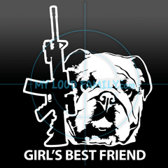 AR and English Bulldog for Females Decal Sticker