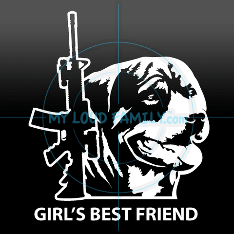 AR and Rottweiler for Female Decal Sticker