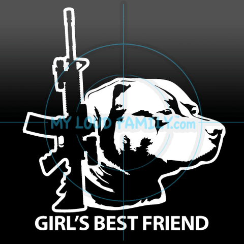 AR15 and American Pit Bull Female Decal Sticker