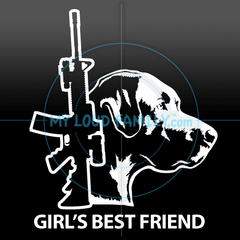 AR15 and Black Labrador Retriever Female Decal Sticker