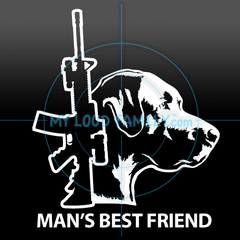 AR15 and Black Labrador Retriever Decal Sticker