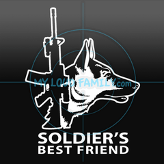 AR15 with German Shepherd for Soldiers Decal Sticker