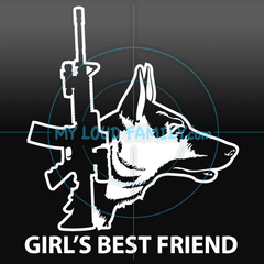 AR15 with German Shepherd for Females Decal Sticker