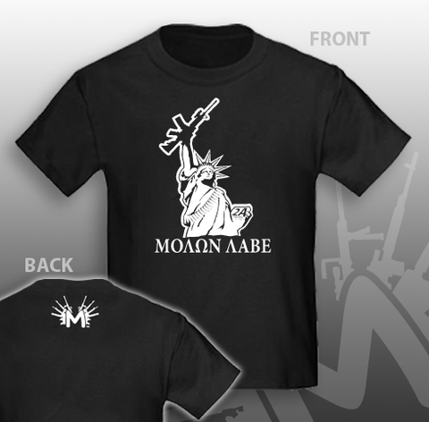 AR Statue of Liberty Molon labe in Greek Text T-Shirt